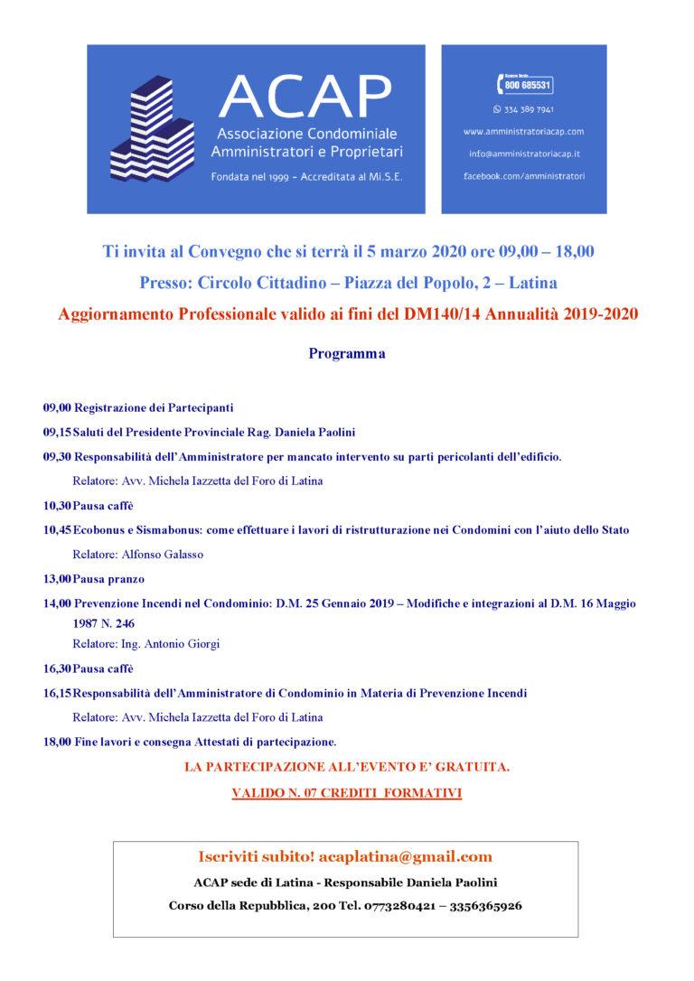 CONVEGNO ACAP, Latina, 05.03.2020