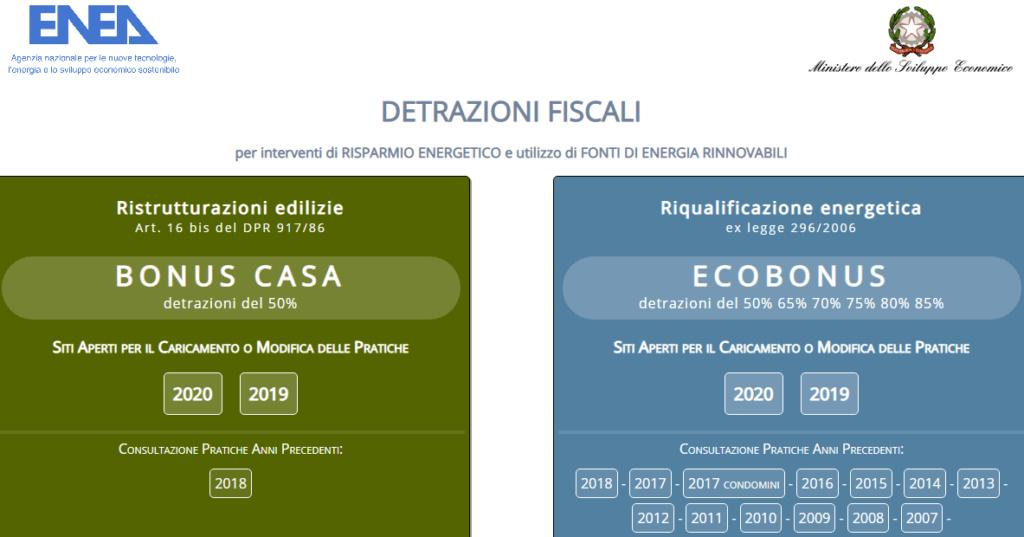 Sito ENEA detrazioni 2020 ecobonus bonus casa