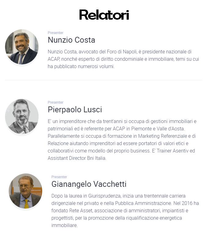 Relatori webinar Decreto liquidità