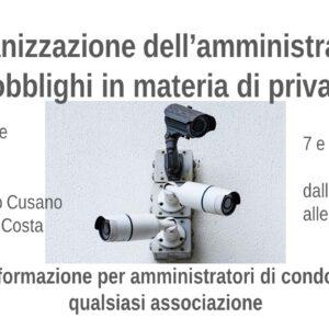 7 e 14 giugno Corso Organizzazione dell'amministratore e obblighi privacy