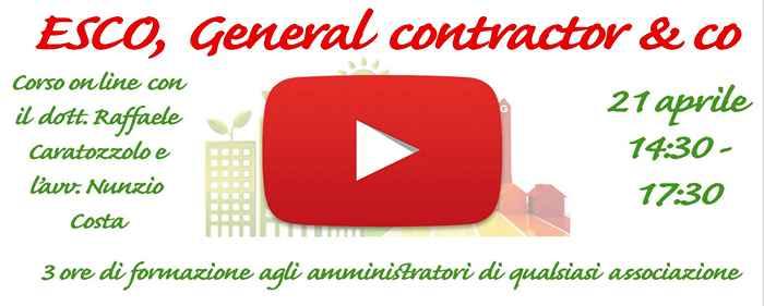 Presentazione del corso ESCo General contractor and co